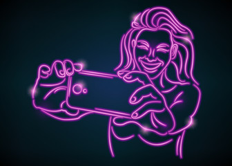 Pretty young woman taking selfie photo.Neon glowing shine style vector illustration. One single drawn line.