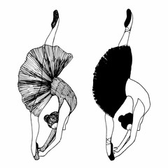 Vector illustration of ballerinas. silhouette. isolated on white background.