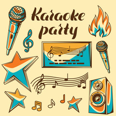 Karaoke party items. Music event set of objects. Illustration in retro style