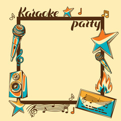 Karaoke party card. Music event background. Illustration in retro style