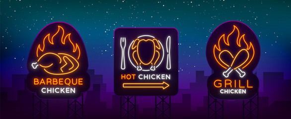 Set logo, signs, banners chicken in neon style for a grocery store and restaurants. Neon sign, night bright advertisement. Barbecue chicken, grilled chicken. Vector illustration. Billboard