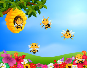 Illustration of bee flying around a beehive in the garden
