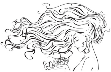 Graphic image of a young girl with developing hair and a Lotus flower in her hand. Vector illustration