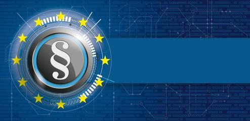 Button mit Paragraf und einer EU Flagge auf einem digitalen Hintergrund