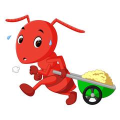 ants dragging carts
