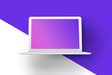 Laptop template mockup. White open laptop on a pattern background. 3D rendering