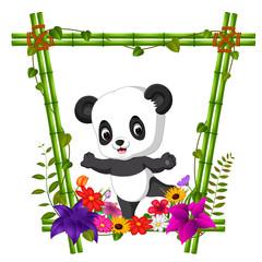 cute panda in bamboo frame with flower scene