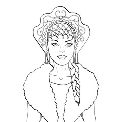 Russian girl with a scythe and in kokoshnike. National clothes of Russia. Vector object on a white background. Coloring book