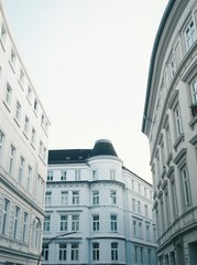 Bright facades on old buildings in Hamburg, Germany