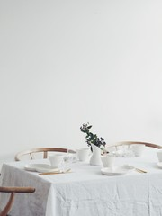 Tablesetting with ceramics in a Scandinavian home
