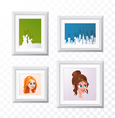 Realistic Minimal Isolated White Frame with Art Scene on Transparent Background for Presentations . Vector Elements