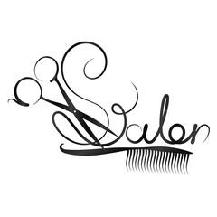Scissors and beauty salon inscription