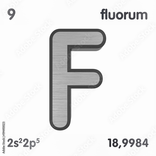 Fluorine F Or Fluorum Chemical Element Sign Of Periodic Table Of