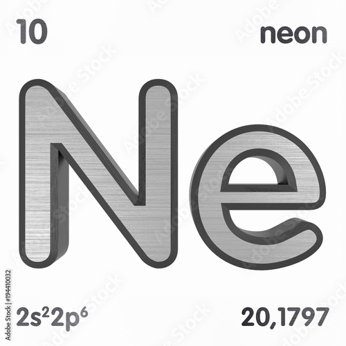 Neon Ne Chemical Element Sign Of Periodic Table Of Elements 3d