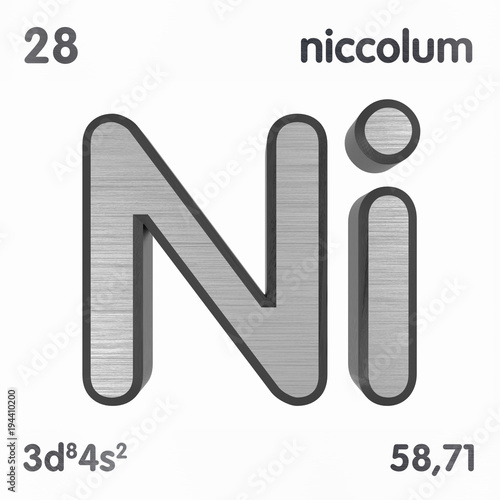 Nickel Ni Or Niccolum Chemical Element Sign Of Periodic Table Of