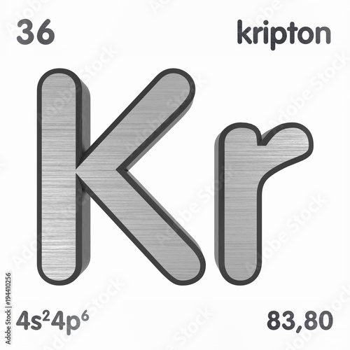 Krypton Kr Chemical Element Sign Of Periodic Table Of Elements