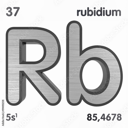 Rubidium Rb Chemical Element Sign Of Periodic Table Of Elements