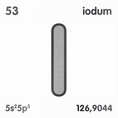 Iodine (I) or Iodum. Chemical element sign of periodic table of elements. 3D rendering.