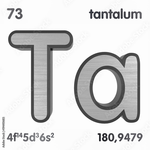 Tantalum Ta Chemical Element Sign Of Periodic Table Of Elements