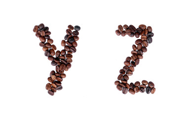 A-Z coffee beans alphabet on isoleted white background for graphic design