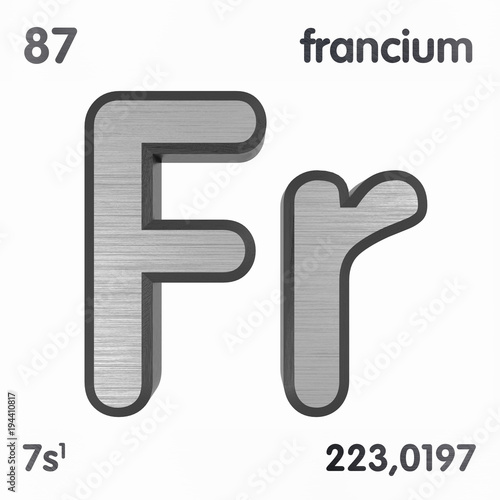 Francium Fr Chemical Element Sign Of Periodic Table Of Elements