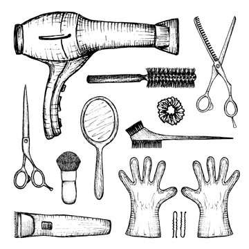 barber shop - set of 13 hand-drawn accessories