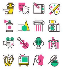Vector creation art graphic icons set flat design illustration. Circus, tv, column, picture, palette entertainment creation symbols. Artist ink graphic color creativity design movie collection