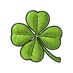 Good luck four leaf clover. Vintage vector color