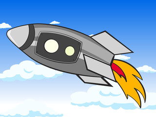 Transport space, rocket in the sky. Clouds and astronaut vector. Cartoon children color