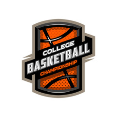 College basketball, sports logo emblem.