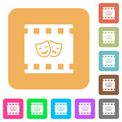 Theatrical movie rounded square flat icons