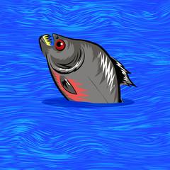 Cartoon Fish Swimming in Water Background