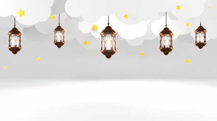 Ramadan Kareem. Beautiful lanterns hanging in the sky, white paper clouds and yellow stars. 3d rendering picture.