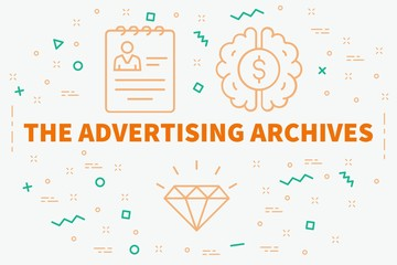 Conceptual business illustration with the words the advertising archives