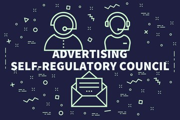 Conceptual business illustration with the words advertising self-regulatory council