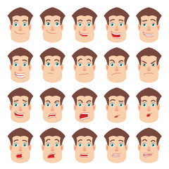 Cartoon Man. Different facial expressions.