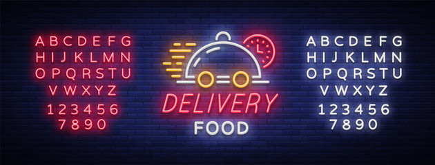 Food delivery neon sign. Logo in neon style, light banner, luminous symbol, bright nightlife neon advertising food delivery for your projects. Vector illustration. Editing text neon sign