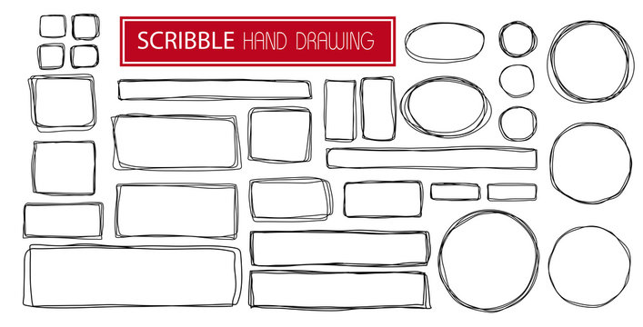 Hand drawn scribble symbols isolated on white background