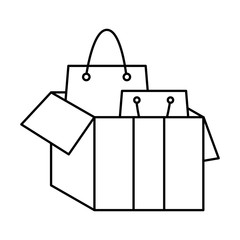 line shopping bags inside open box package