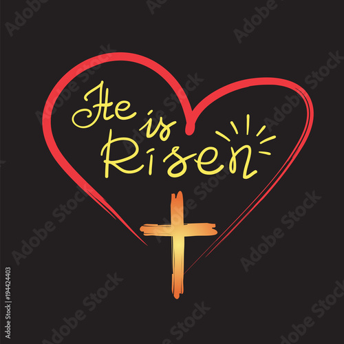 He Is Risen Motivational Quote Lettering Religious Poster Print