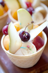 healthy dessert for children, wafers with fruits