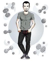 Happy brunet young adult man with beard and mustaches is standing on simple background with dumbbells and barbells. Vector character, sport and fitness theme.