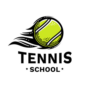 Tennis school emblem, illustration, logotype, modern line style, green color, on a white background. A flying burning tennis ball enveloped in flames.