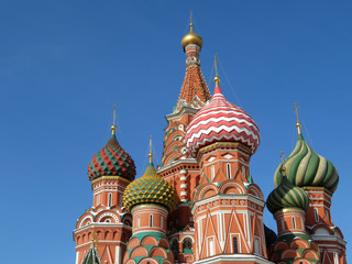 Russian landmark. St. Basil's Cathedral on Red Square in Moscow