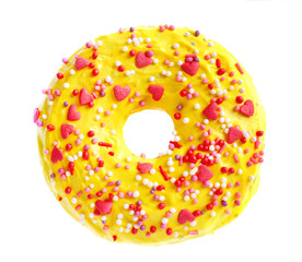Delicious yellow donut on white background
