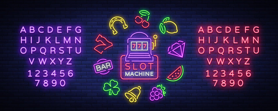Slot machine is a neon sign. Collection of neon signs for a gaming machine. Game icons for casino. Vector Illustration on Casino, Fortune and Gambling. Jackpot. Editing text neon sign