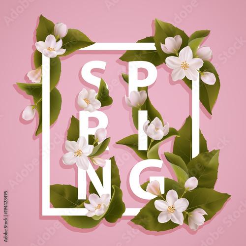 Spring Flowers Vector Cover Stockfotos Und Lizenzfreie Vektoren