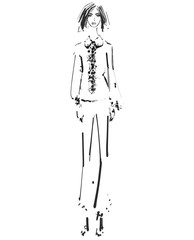 Beautiful young girl in the shirt and pants. Fashion model sketch drawing.