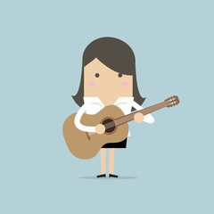 Businesswoman playing guitar. vector