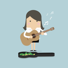 Businesswoman playing guitar for money. vector